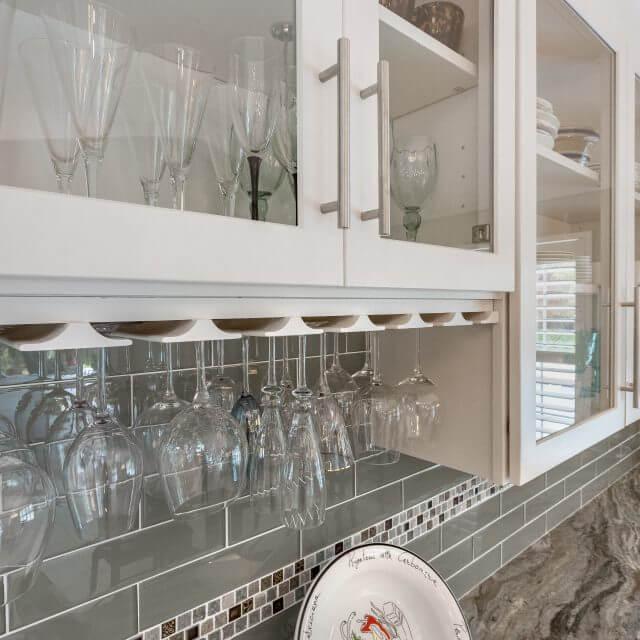 Custom display cabinets and wine glass storage