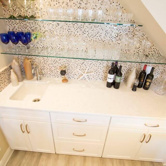 Custom designed wet bar with tile backsplash